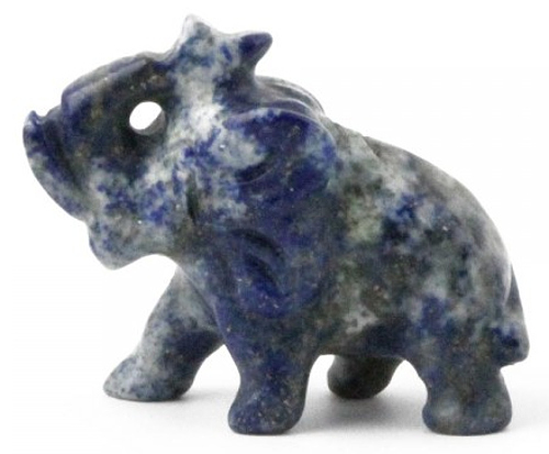 Solid Lapis Lazuli Elephant With Trunk Up Figurine 1 inch