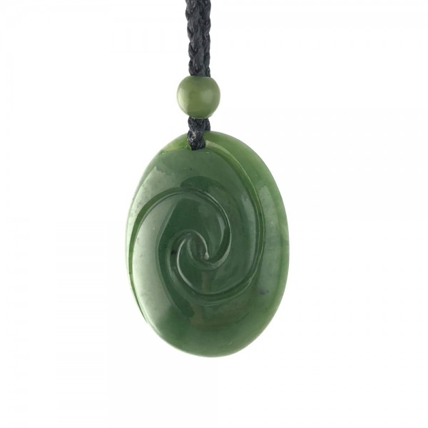 Genuine Natural Nephrite Jade Oval Plump Maori-Style Koru Pendant Necklace