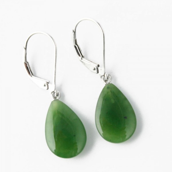 Jade Teardrop Dangle Drop Earrings (J-Earrings-1779-2)