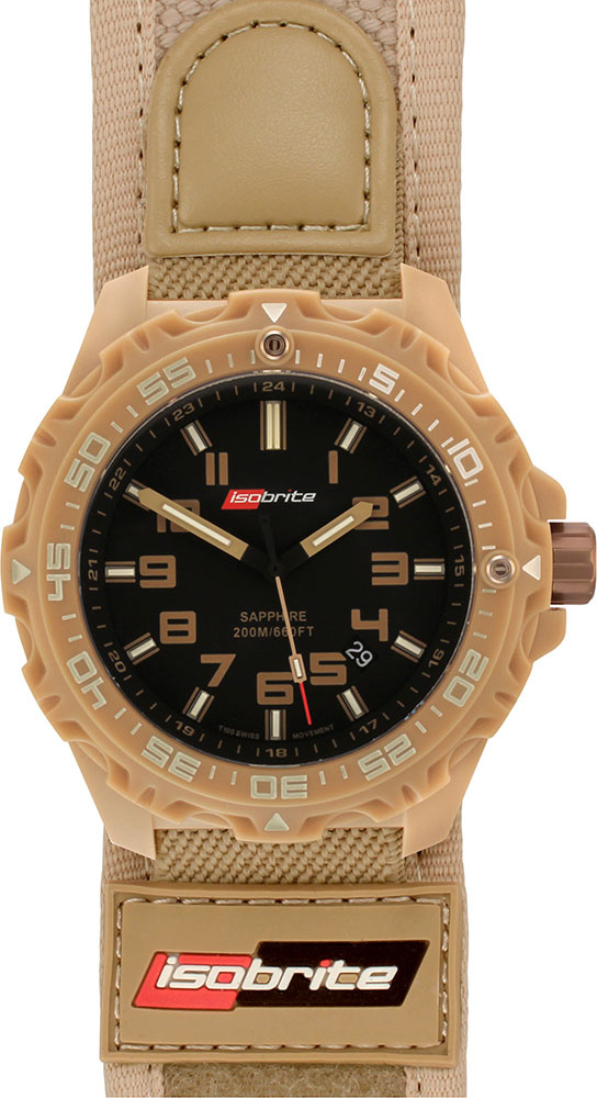 "ArmourLite Tritium Watch - Isobrite T100 Valor Series ISO314 (Tan with Nylon/Velcro ""Bracelet"") - DISCONTINUED"