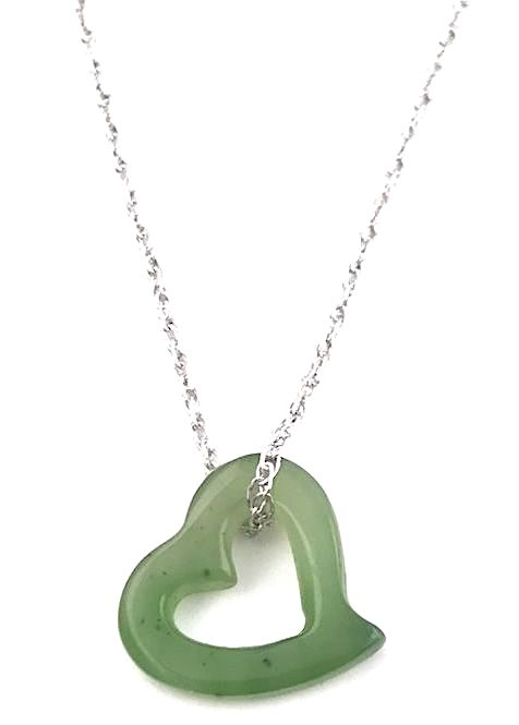 13mm Genuine Natural Nephrite Jade Cutout Heart Pendant