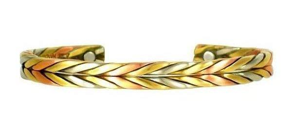 Wheat - Sergio Lub Copper Magnetic Therapy Bracelet - Made in USA! (lub524)