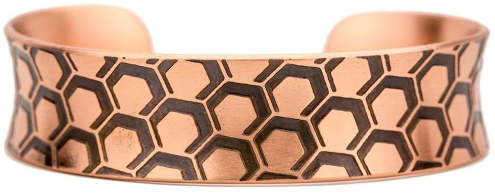 Honeycomb - Nik Lub Etched Copper Cuff Bracelet - Made in USA