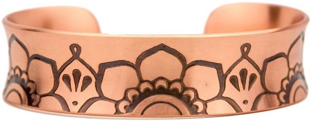 Lotus Flower - Nik Lub Etched Copper Cuff Bracelet - Made in USA