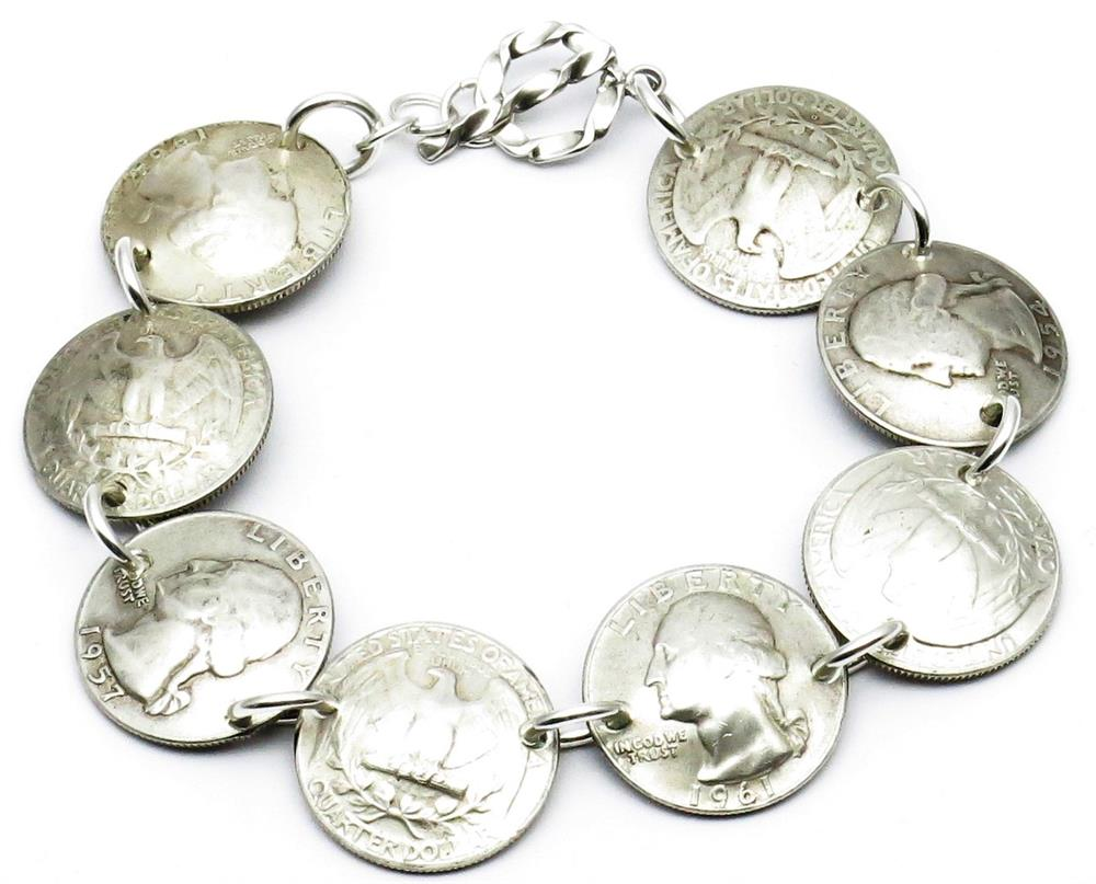 Pre-1965 90% Silver Quarters / Sterling Silver NON-MAGNETIC Bracelet Handmade by Maria Lucia