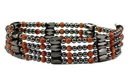 Simulated Copper Sandstone Wrap Around Hematite - Magnetic Therapy Bracelet-Anklet (WA-GCS1)