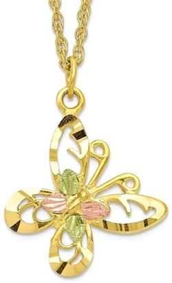 10k Tri-color Black Hills Gold Butterfly Necklace 10BH665-18