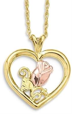 10k Tri-Color Black Hills Gold Rose in Heart Necklace
