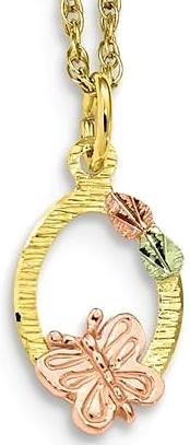 10k Tri-Color Black Hills Gold Butterfly Necklace 10BH701-18