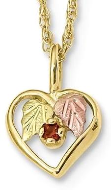 10k Tri-Color Black Hills Gold Heart Garnet Necklace