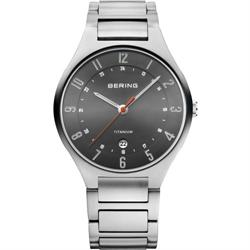 Bering Time - Mens Grey Titanium Watch with Dark Grey Dial 11739-772