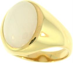 Natural White Jadeite Jade Oval Stone Ring, Size 9