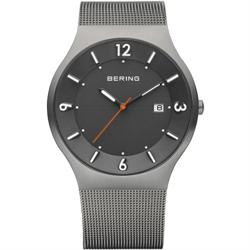 Bering Time - Classic - Mens Grey Mesh Solar Watch 14440-077