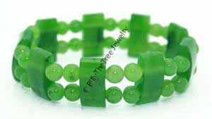 Elastic Genuine Natural Nephrite Jade Two-Tiered Stone & Beads Bracelet
