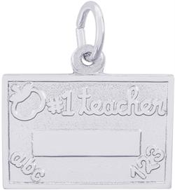 Number One Teacher Charm (Choose Metal) by Rembrandt