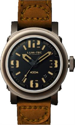 Lum-Tec Watch - ABYSS 400M - 400M-3 (42mm) Automatic Mens w/ Brown Strap & Vintage Brown Stitch