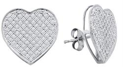 0.50ctw Diamond Heart Earrings 10K White Gold