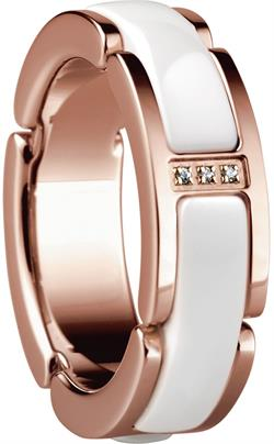 Bering - Ceramic Link - Ladies Ring Rose Gold Plated Stainless Steel w/White Links & CZ Stones