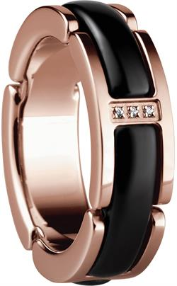 Bering - Ceramic Link - Ladies Ring Rose Gold Plated Stainless Steel w/Black Links & CZ Stones