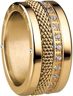 Bering - Combi-Ring - Wide Ladies Gold Plated Stainless Steel w/ Slim Gold Plated Mesh & CZ Inner Rings