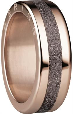Bering - Combi-Ring - Slim Ladies Rose Gold Plated Stainless Steel w/ Sparkling Brown Inner Ring