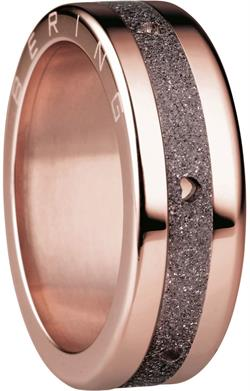 Bering - Combi-Ring - Slim Ladies Rose Gold Plated Stainless Steel w/ Sparkling Brown Hearts Inner Ring