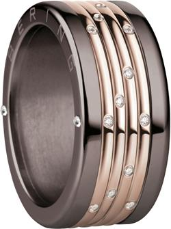 Bering - Combi-Ring - Wide Ladies Brown Stainless Steel w/4x Mini Rose Gold Plated & CZ Inner Rings