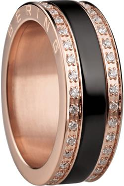 Bering - Combi-Ring - Slim Ladies Rose Gold Plated Stainless Steel & CZ w/ Black Ceramic Inner Ring