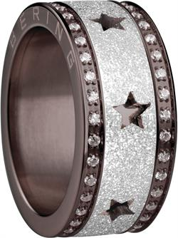 Bering - Combi-Ring - Wide Ladies Brown Stainless Steel & CZ w/ Sparkling Silver Plated Stars Inner Ring