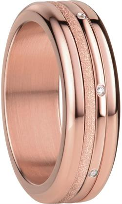Bering - Combi-Ring - Slim Ladies Rose Gold Plated Stainless Steel w/ Mini Sparkling Rose Gold Plated & CZ Inner Rings
