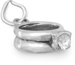 CZ Ring Charm 925 Sterling Silver