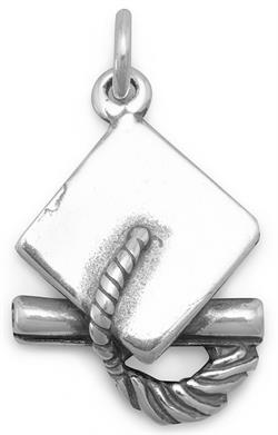Graduation Cap Charm 925 Sterling Silver