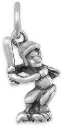 Girl Softball Player Charm 925 Sterling Silver