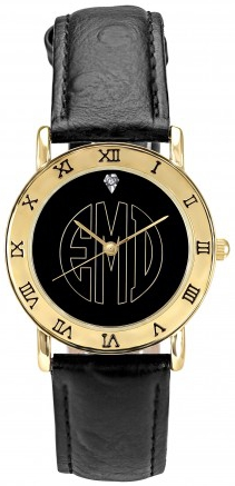 Alison & Ivy - Black Block Monogram Goldtone Watch 32mm - Customizable Jewelry Collection