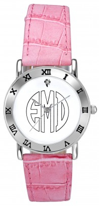 Alison & Ivy - Ladies White Block Monogram Watch 32mm - Customizable Jewelry Collection