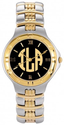 Alison & Ivy - Mens Two Tone Block Letter Watch 35mm - Customizable Jewelry Collection