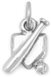 Home Plate with Bat and Ball Charm 925 Sterling Silver