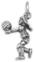 Girl Volleyball Player Charm 925 Sterling Silver