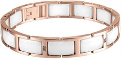 Bering - Ceramic - Ladies Link Bracelet Rose Gold Plated Stainless Steel w/White Links