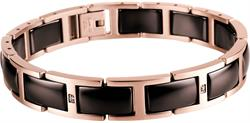 Bering - Ceramic - Ladies Link Bracelet Rose Gold Plated Stainless Steel w/Brown Links