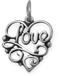 Love Heart Charm 925 Sterling Silver