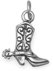 Cowboy Boot Charm 925 Sterling Silver