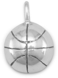 1/2 Round Basketball Charm 925 Sterling Silver