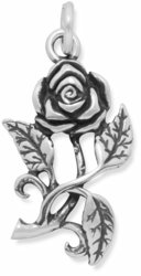 Oxidized Rose Charm 925 Sterling Silver