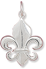 Polished Fleur- de -Lis Charm 925 Sterling Silver - LIMITED STOCK