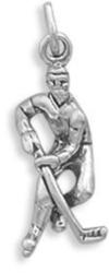 Hockey Player Charm 925 Sterling Silver