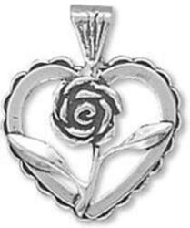 Heart with Rose Charm 925 Sterling Silver