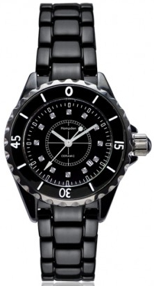 Alison & Ivy - Ladies Black Ceramic Watch 34mm - Customizable Jewelry Collection
