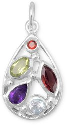 Multi Shape and Stone Pendant 925 Sterling Silver