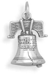 (C) Liberty Bell Charm 925 Sterling Silver